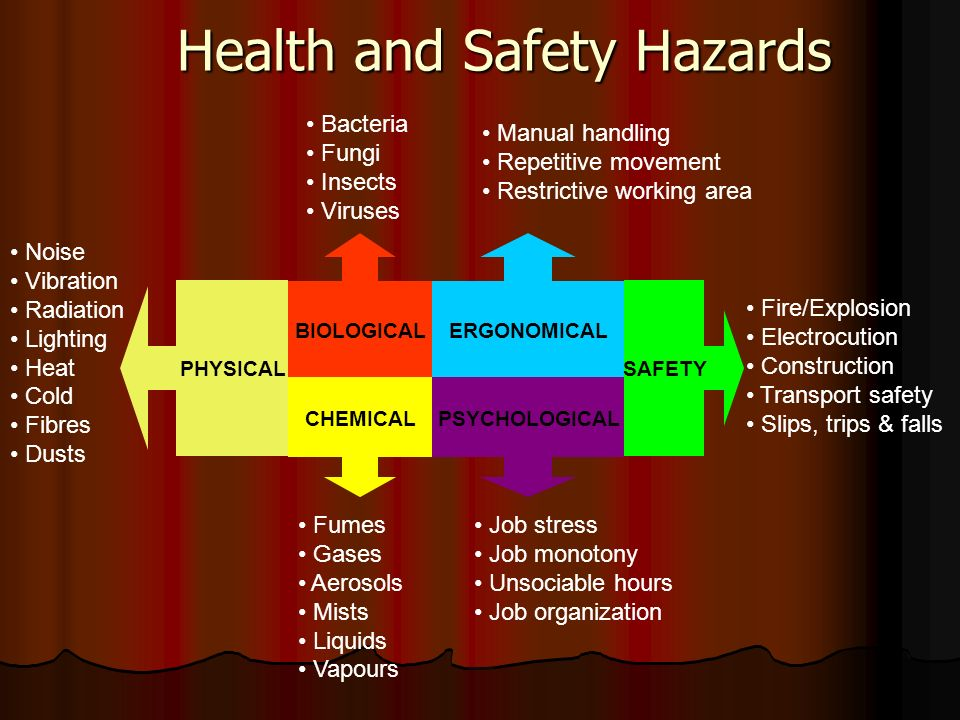 Health and Safety Hazards Noise Vibration Radiation Lighting Heat Cold Fibres Dusts CHEMICAL Fumes Gases Aerosols Mists Liquids Vapours Bacteria Fungi Insects Viruses Manual handling Repetitive movement Restrictive working area PSYCHOLOGICAL Job stress Job monotony Unsociable hours Job organization ERGONOMICALBIOLOGICAL SAFETYPHYSICAL Fire/Explosion Electrocution Construction Transport safety Slips, trips & falls