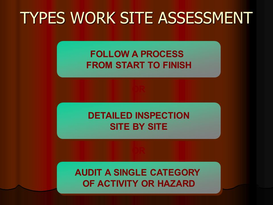 TYPES WORK SITE ASSESSMENT FOLLOW A PROCESS FROM START TO FINISH AUDIT A SINGLE CATEGORY OF ACTIVITY OR HAZARD AUDIT A SINGLE CATEGORY OF ACTIVITY OR HAZARD DETAILED INSPECTION SITE BY SITE DETAILED INSPECTION SITE BY SITE OR
