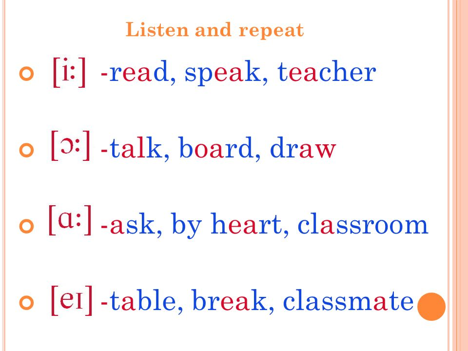 Listen and repeat -read, speak, teacher -talk, board, draw -ask, by heart, classroom -table, break, classmate