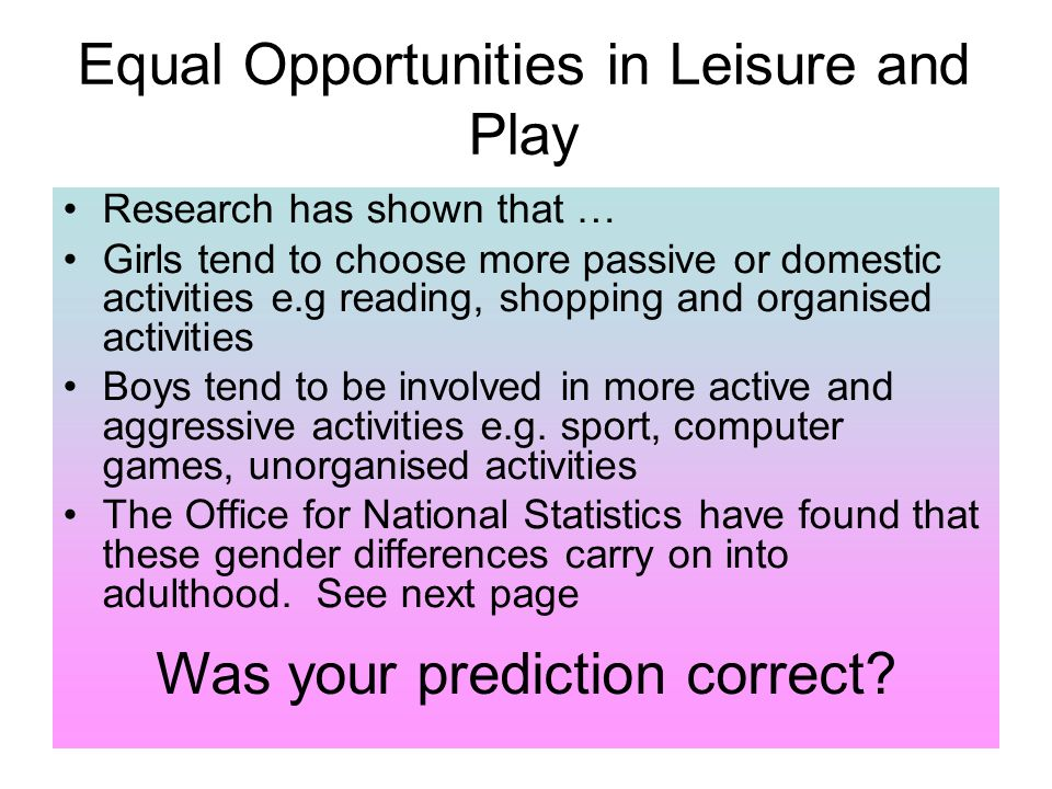 gender and leisure