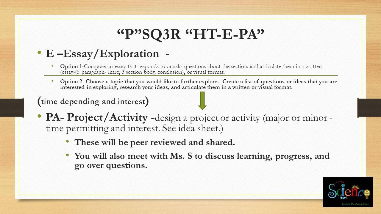 essay exploring paragraph writing