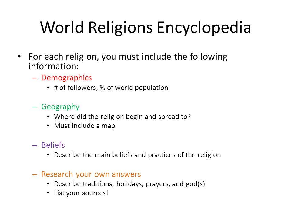 World Religions Encyclopedia You Will Create An Encyclopedia That - List of major world religions
