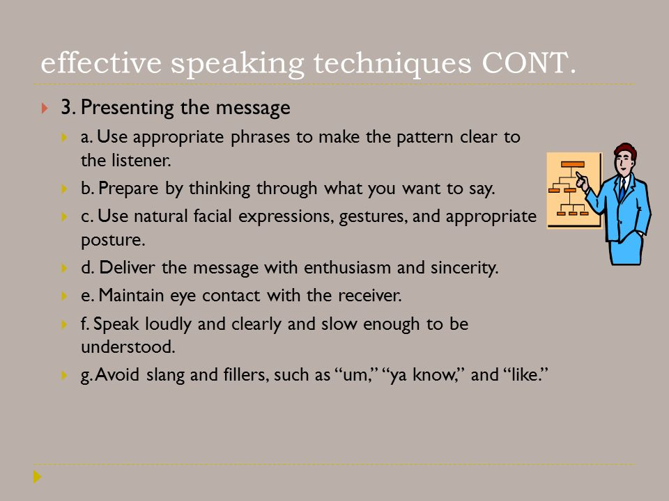 effective speaking techniques CONT.  3. Presenting the message  a.