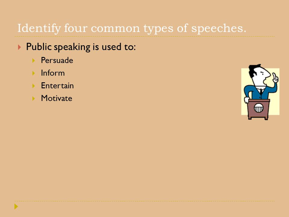 Identify four common types of speeches.