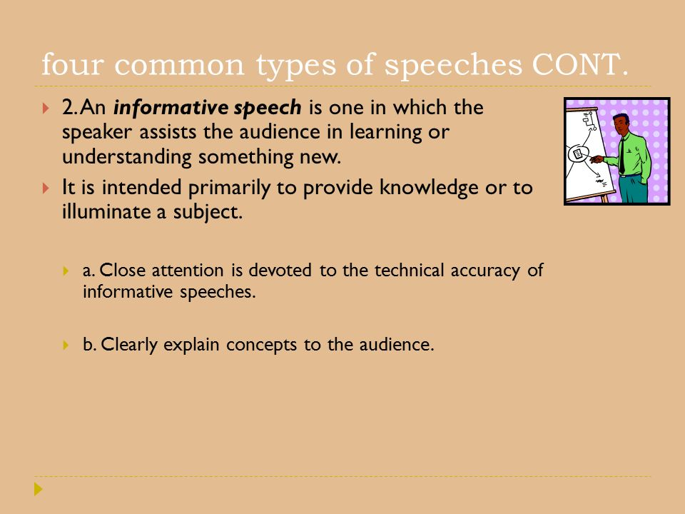 four common types of speeches CONT.  2.