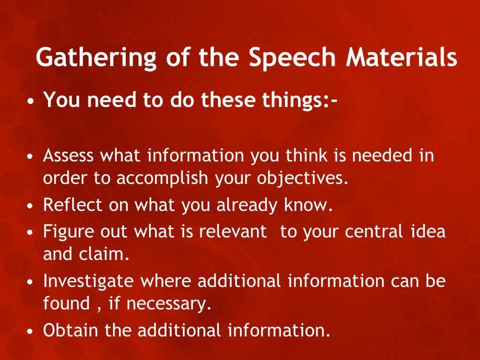 Purpose of gathering speech