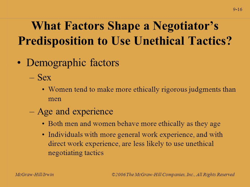 9-16 McGraw-Hill/Irwin ©2006 The McGraw-Hill Companies, Inc., All Rights Reserved What Factors Shape a Negotiator's Predisposition to Use Unethical Tactics.