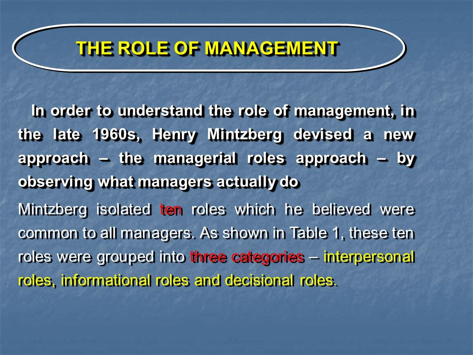 THE ROLE OF MANAGEMENT In order to understand the role of management, in the late 1960s, Henry Mintzberg devised a new approach – the managerial roles approach – by observing what managers actually do In order to understand the role of management, in the late 1960s, Henry Mintzberg devised a new approach – the managerial roles approach – by observing what managers actually do Mintzberg isolated ten roles which he believed were common to all managers.