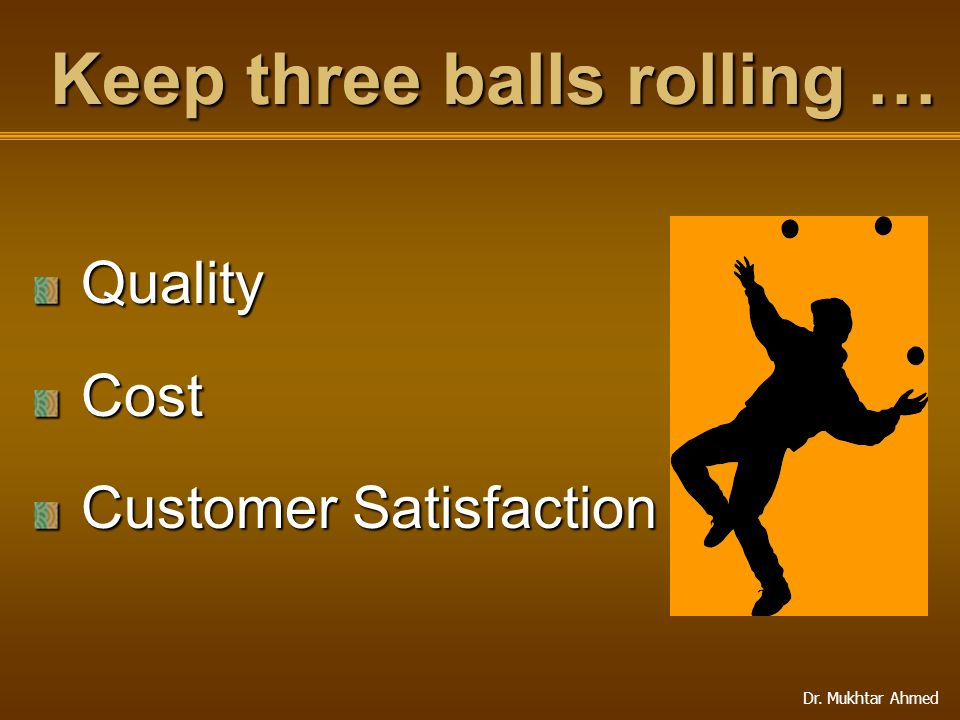 Dr. Mukhtar Ahmed QualityCost Customer Satisfaction Keep three balls rolling …