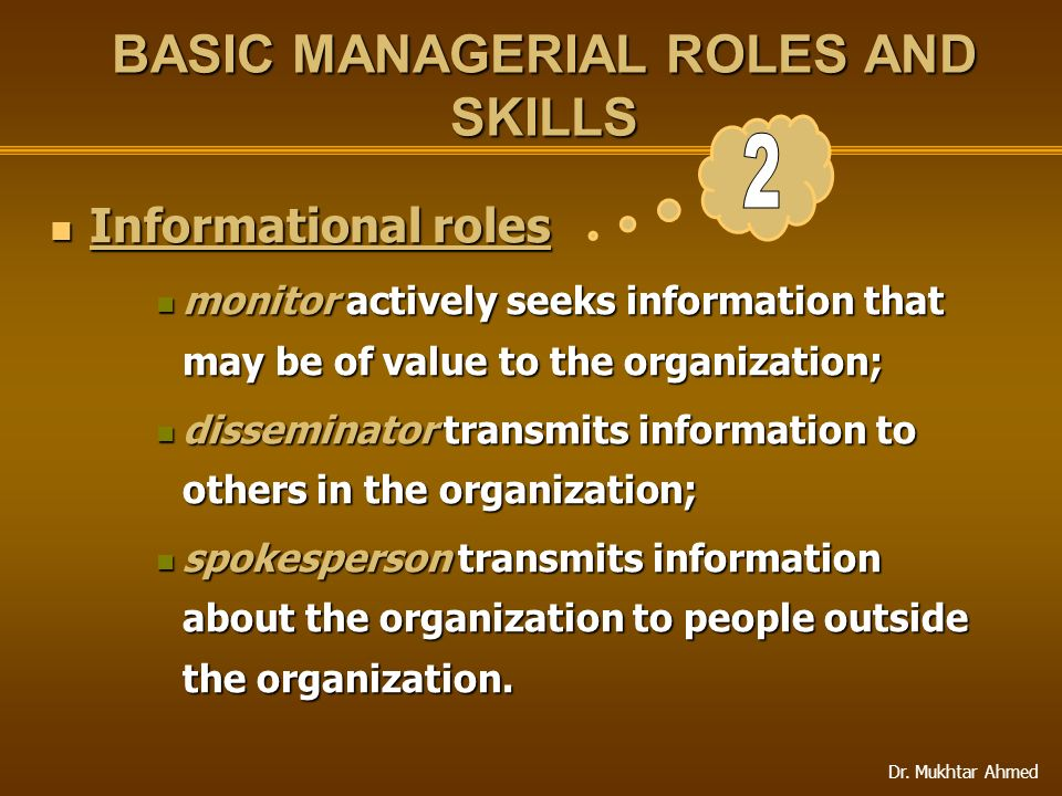 Dr. Mukhtar Ahmed BASIC MANAGERIAL ROLES AND SKILLS Informational roles Informational roles monitor actively seeks information that may be of value to