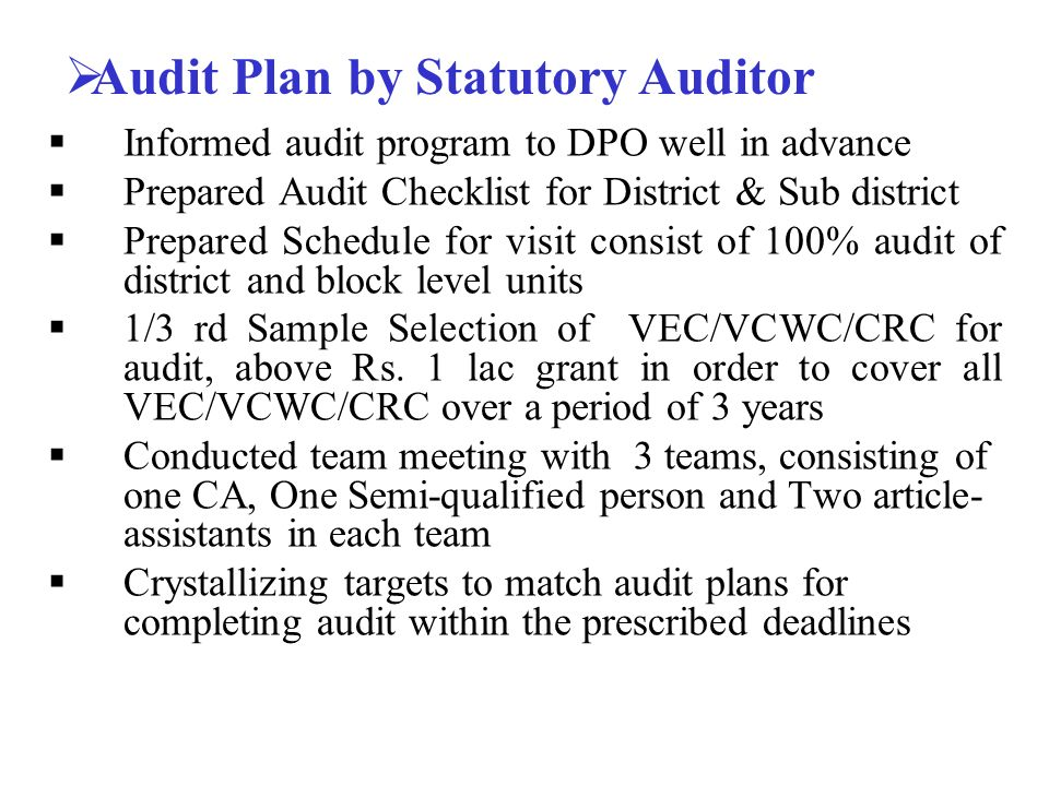 Statutory Audit Of Ssa Accounts For A Programme For Universal