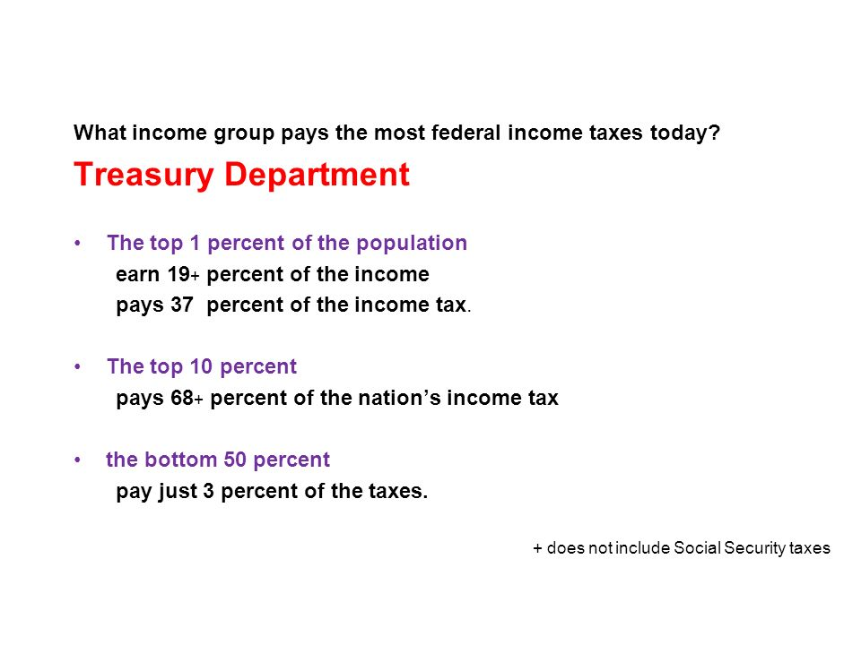What income group pays the most federal income taxes today.