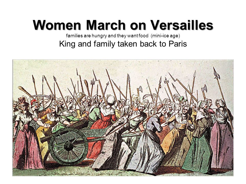 Women March on Versailles Women March on Versailles families are hungry and they want food (mini-ice age) King and family taken back to Paris