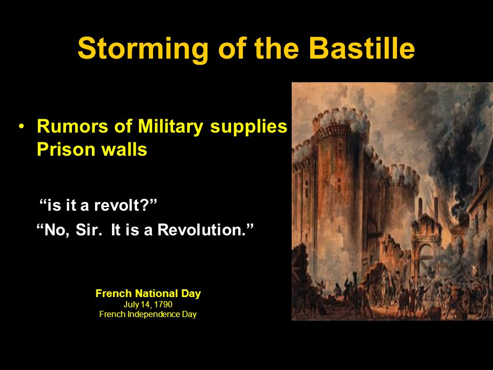 Storming of the Bastille Rumors of Military supplies in Prison walls is it a revolt No, Sir.