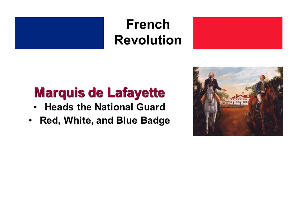 Marquis de Lafayette Heads the National Guard Red, White, and Blue Badge French Revolution