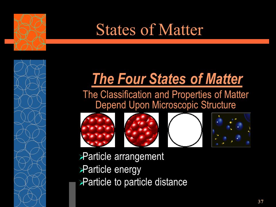 37 States of Matter The Four States of Matter The Classification and Properties of Matter Depend Upon Microscopic Structure  Particle arrangement  Particle energy  Particle to particle distance