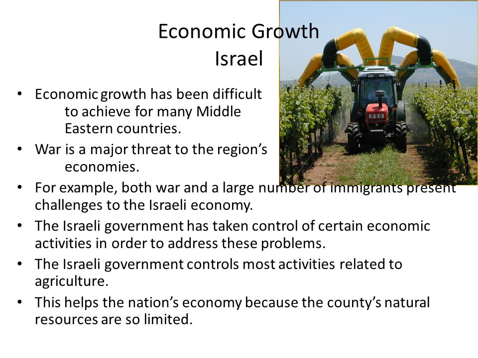 Economic Growth Israel Economic growth has been difficult to achieve for many Middle Eastern countries.