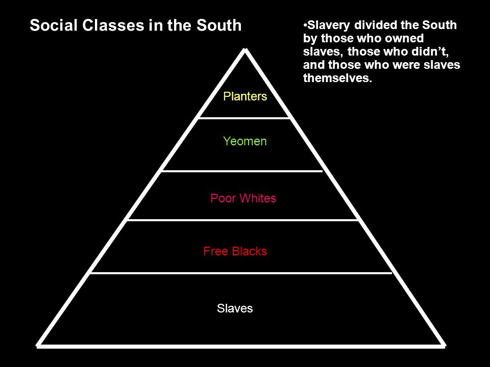 Planters Yeomen Poor Whites Free Blacks Slaves Social Classes in the South Slavery divided the South by those who owned slaves, those who didn't, and those who were slaves themselves.