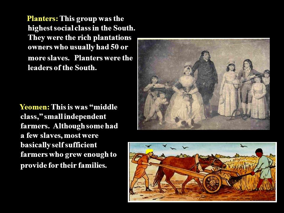 Planters: This group was the highest social class in the South.
