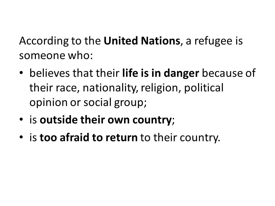 A person who has been forced to leave their country in order to escape war, persecution, or natural disaster.
