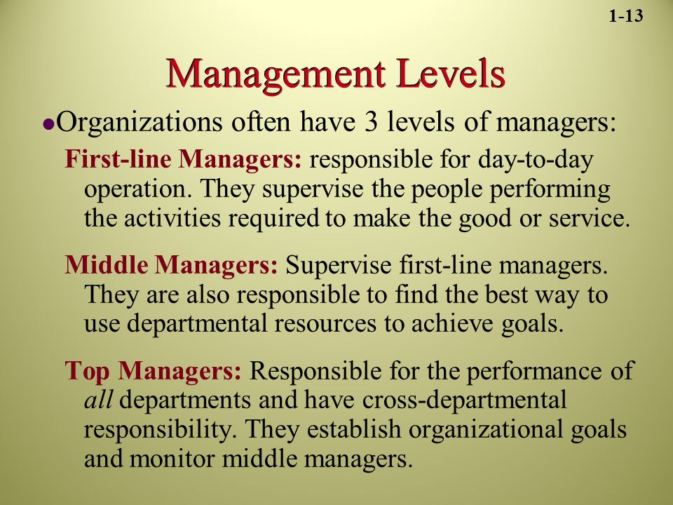 Management Levels Organizations often have 3 levels of managers: First-line Managers: responsible for day-to-day operation.