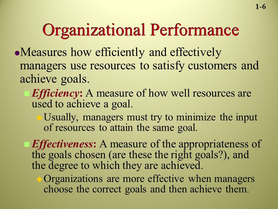 Organizational Performance Measures how efficiently and effectively managers use resources to satisfy customers and achieve goals.