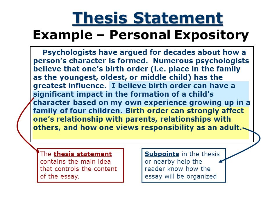 Personal Thesis Statement Examples