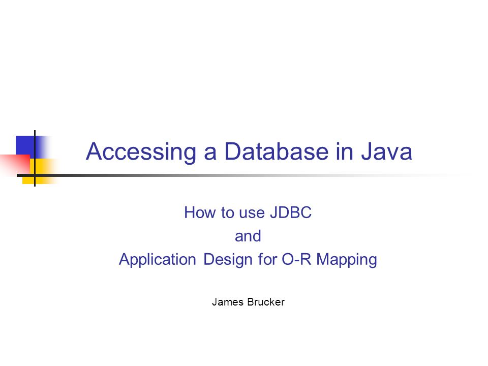 database using java
