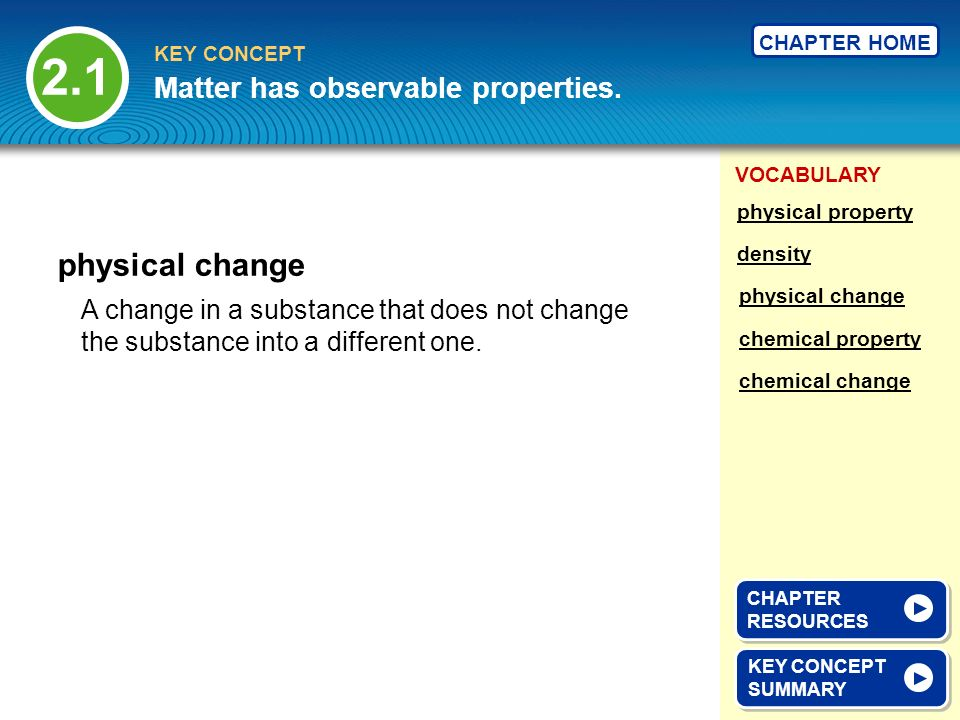 VOCABULARY KEY CONCEPT CHAPTER HOME A change in a substance that does not change the substance into a different one.