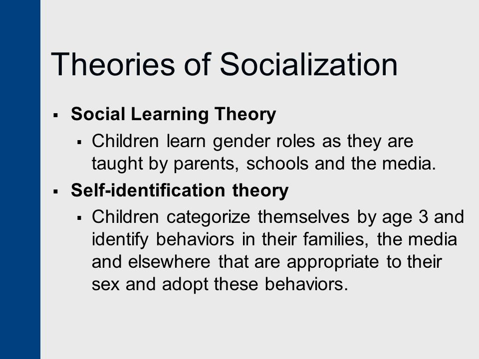 Theories of Socialization  Social Learning Theory  Children learn gender roles as they are taught by parents, schools and the media.  Self-identifi
