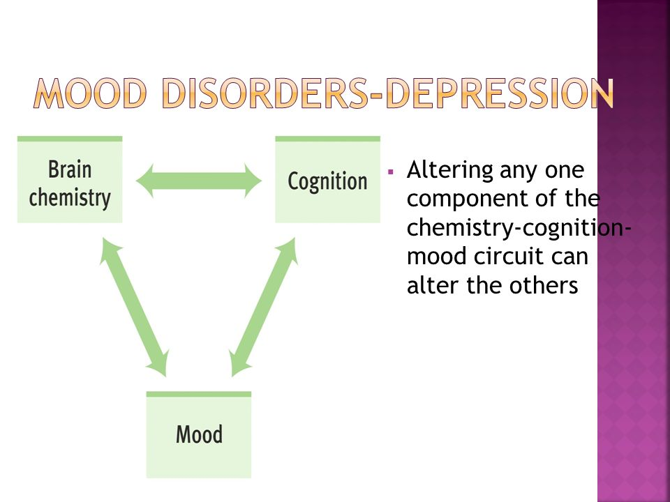  Altering any one component of the chemistry-cognition- mood circuit can alter the others