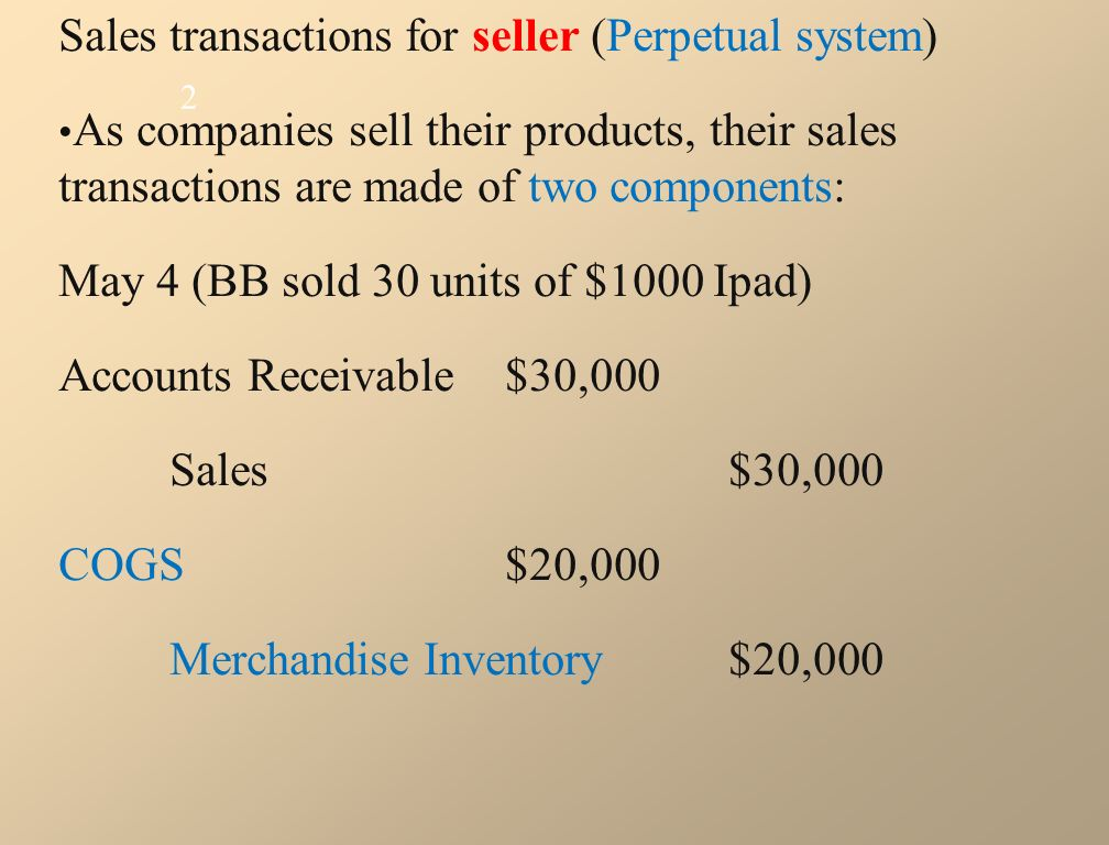 Sales transactions for seller (Perpetual system) As companies sell their products, their sales transactions are made of two components: May 4 (BB sold 30 units of $1000 Ipad) Accounts Receivable $30,000 Sales$30,000 COGS$20,000 Merchandise Inventory$20,000 2