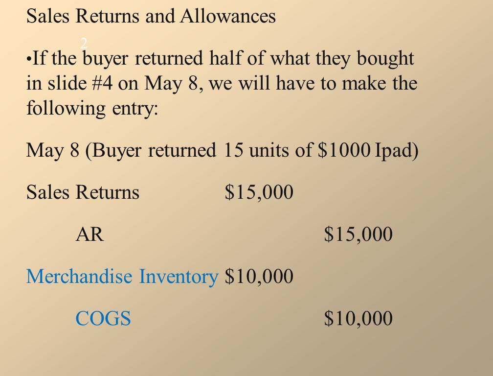 Sales Returns and Allowances If the buyer returned half of what they bought in slide #4 on May 8, we will have to make the following entry: May 8 (Buyer returned 15 units of $1000 Ipad) SalesReturns$15,000 AR$15,000 Merchandise Inventory$10,000 COGS$10,000 2