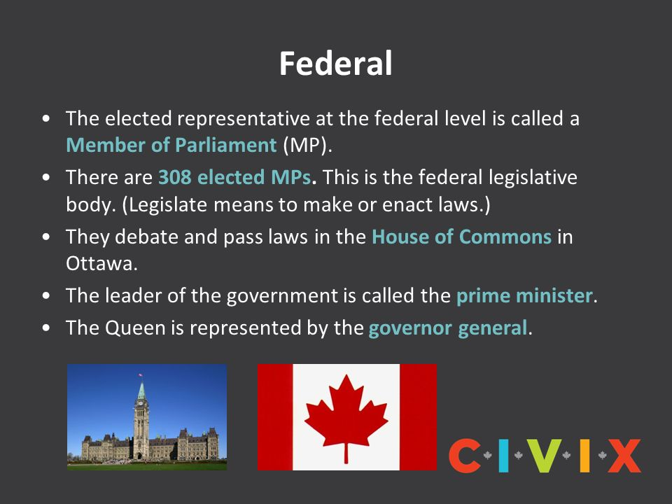 Federal The elected representative at the federal level is called a Member of Parliament (MP).
