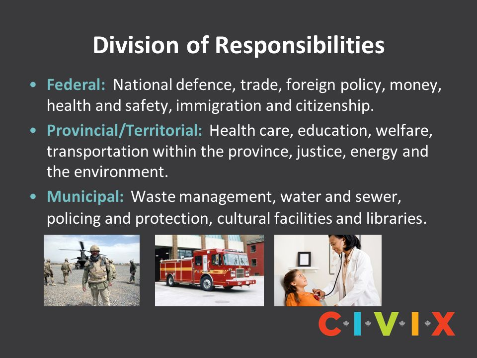 Division of Responsibilities Federal: National defence, trade, foreign policy, money, health and safety, immigration and citizenship.