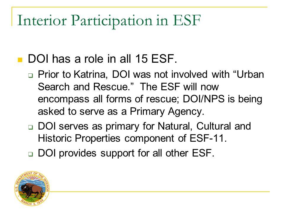 Interior Participation in ESF DOI has a role in all 15 ESF.