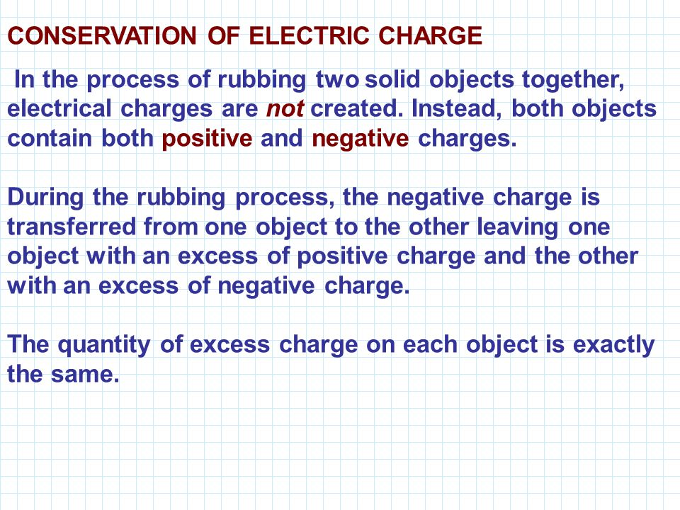 CONSERVATION OF ELECTRIC CHARGE In the process of rubbing two solid objects together, electrical charges are not created.