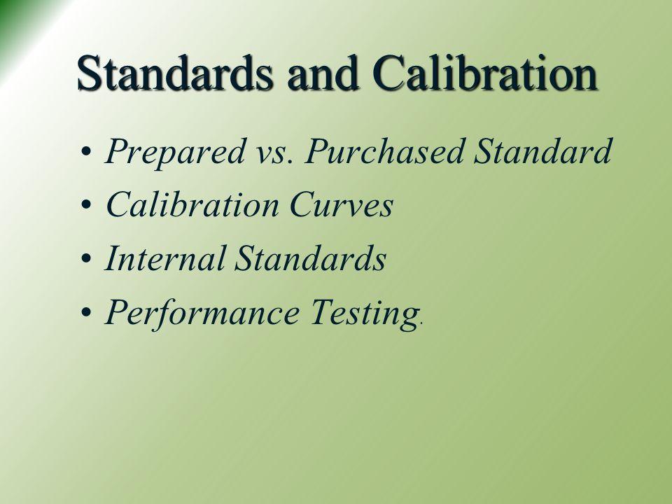 Standards and Calibration Prepared vs.
