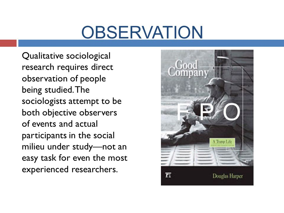 OBSERVATION Qualitative sociological research requires direct observation of people being studied.