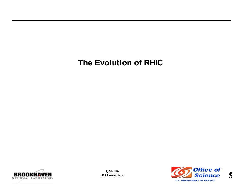 5 QM2006 D.I.Lowenstein The Evolution of RHIC