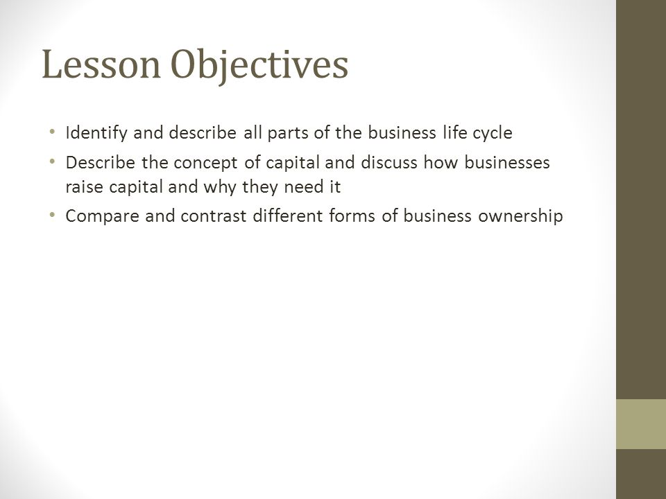 lesson objectives identify and describe all parts of the business life cycle describe the concept of business life concepts
