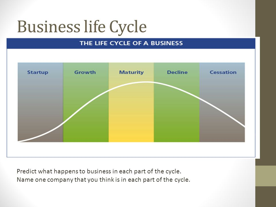 business life cycle predict what happens to business in each part of the cycle name business life concepts
