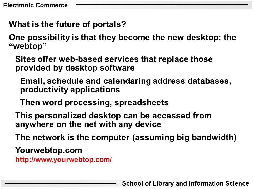 Electronic Commerce School of Library and Information Science What is the future of portals.