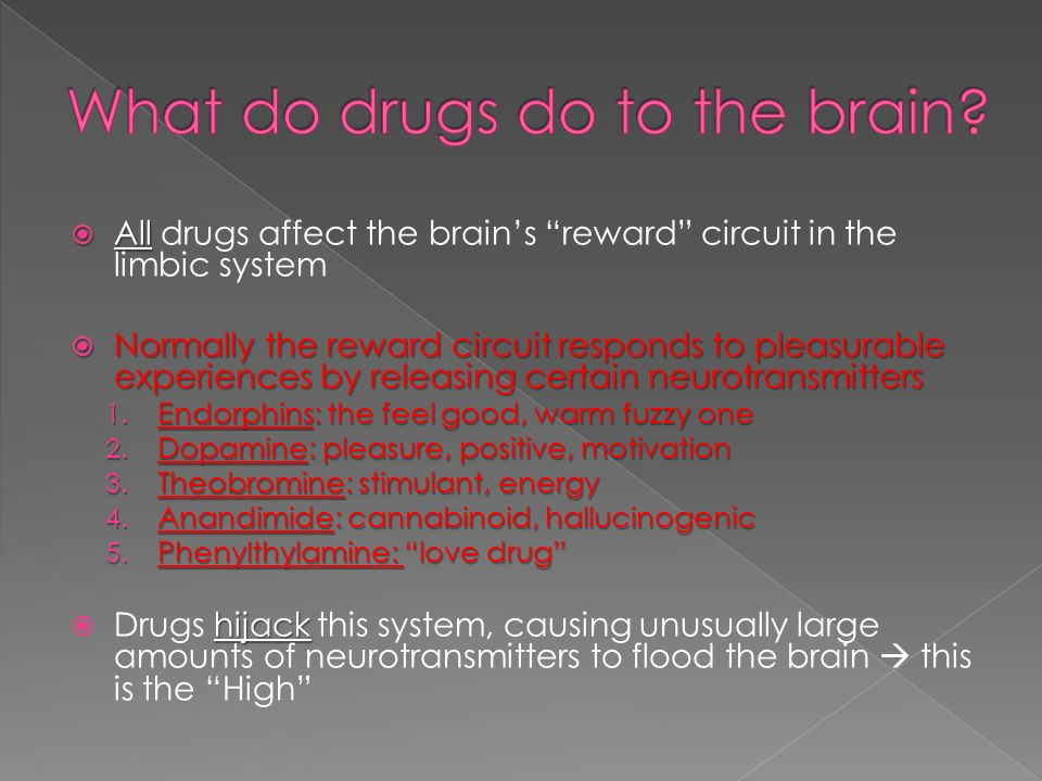  All  All drugs affect the brain's reward circuit in the limbic system  Normally the reward circuit responds to pleasurable experiences by releasing certain neurotransmitters 1.