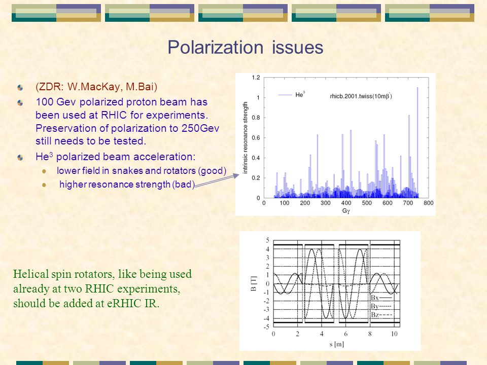 Polarization issues (ZDR: W.MacKay, M.Bai) 100 Gev polarized proton beam has been used at RHIC for experiments.