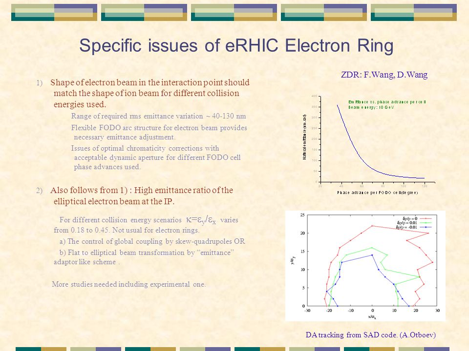 Specific issues of eRHIC Electron Ring 1) Shape of electron beam in the interaction point should match the shape of ion beam for different collision energies used.
