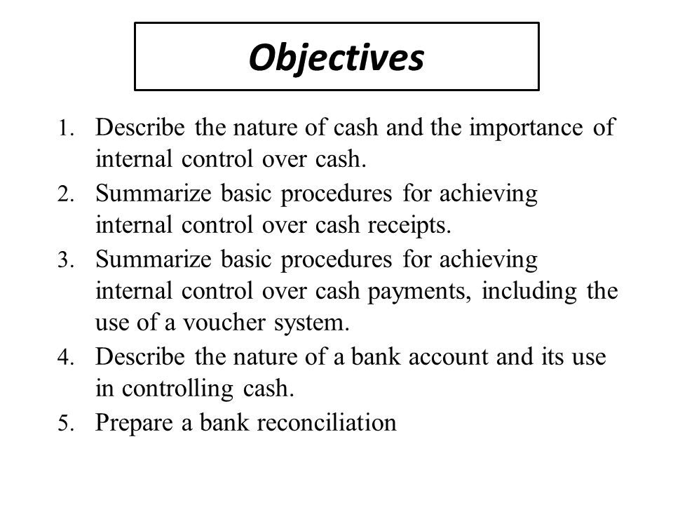 internal control over cash payment and