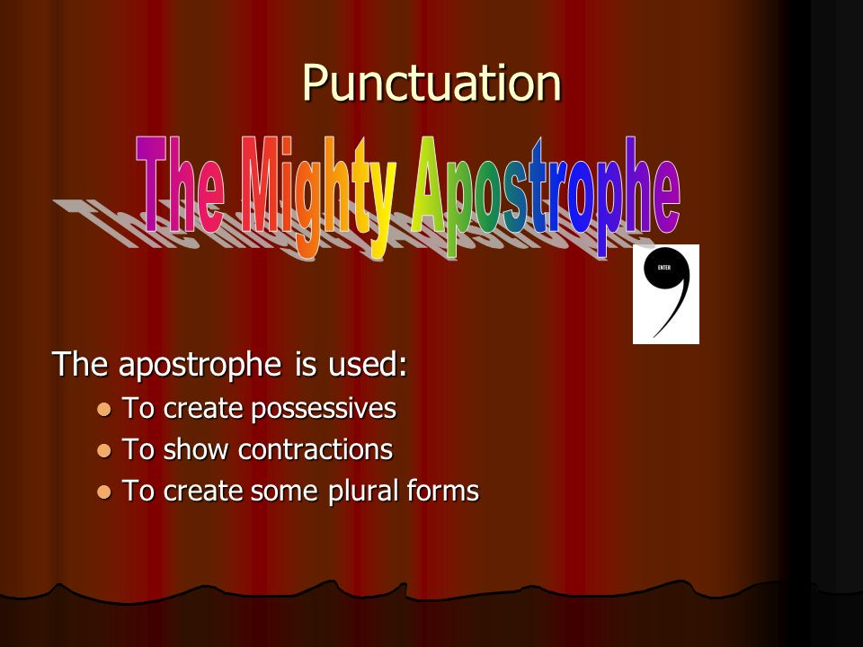 Punctuation The apostrophe is used: To create possessives To create possessives To show contractions To show contractions To create some plural forms To create some plural forms