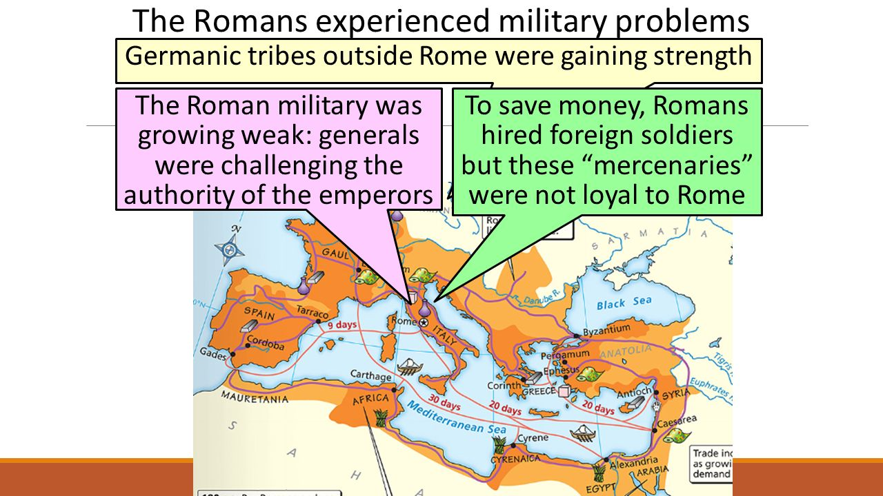 The Romans experienced military problems Germanic tribes outside Rome were gaining strength The Roman military was growing weak: generals were challenging the authority of the emperors To save money, Romans hired foreign soldiers but these mercenaries were not loyal to Rome