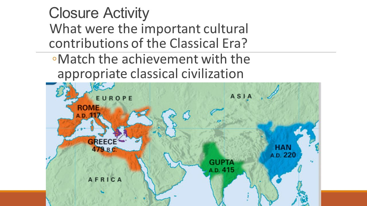 Closure Activity What were the important cultural contributions of the Classical Era.
